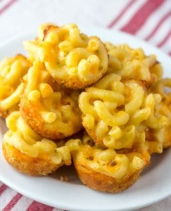 Mini Mac-n-Cheese Bites perfect for your Super Bowl Party! littlemissblog.com
