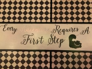 Cardstock and Cricut Vinyl images of Alice Every Adventure requires a First Step Quotes for Table littlemissblog.com