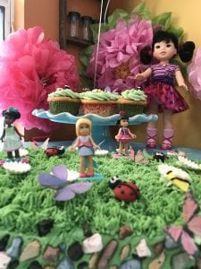 Wellie Wisher Party Cake with MegaContrux WellieWishers, candy rocks and butterflies