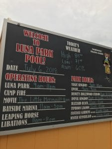 Board showing events at the Luna Park Pool
