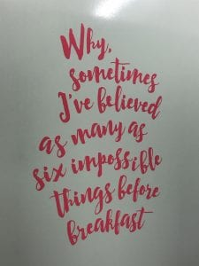Alice in wonderland bathroom vinyl quote