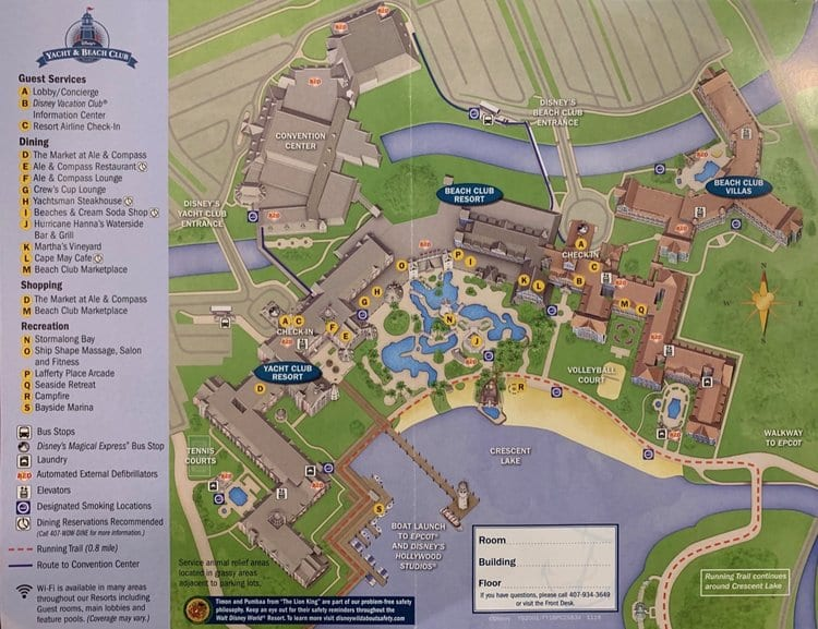 Map of Disneys Beach Club and Yacht Club Resorts at Walt Disney World Florida