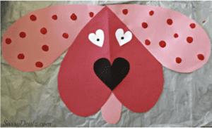 Dog Craft for valentines day using hearts
