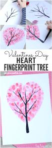 Heart Fingerprint Tree for Valentines Day