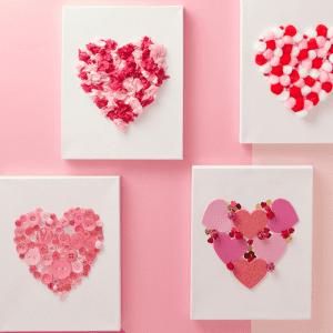 Valentine Heart Crafts on Canvas