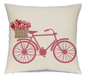 Valentines pillow with bicycle and flowers