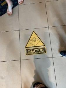 Warning Bricks on floor