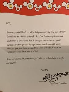 In Room Celebration Letter from Mickey