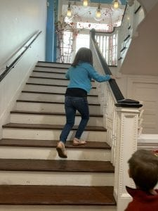 Going to the second floor in sweet pete's