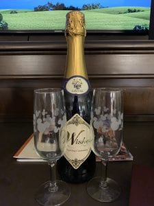 Celebration at Walt Disney World with Mickey Glasses and Sparkling Juice