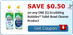 Save $0.50 on any ONE (1) Scrubbing Bubbles® Toilet Bowl Cleaner Product