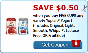 Save $0.50 when you buy FIVE CUPS any variety Yoplait® Yogurt (Includes Original, Light, Smooth, Whips!®, Lactose Free, OR FruitSide)