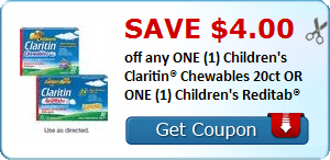 Save $4.00 off any ONE (1) Children's Claritin® Chewables 20ct OR ONE (1) Children's Reditab®