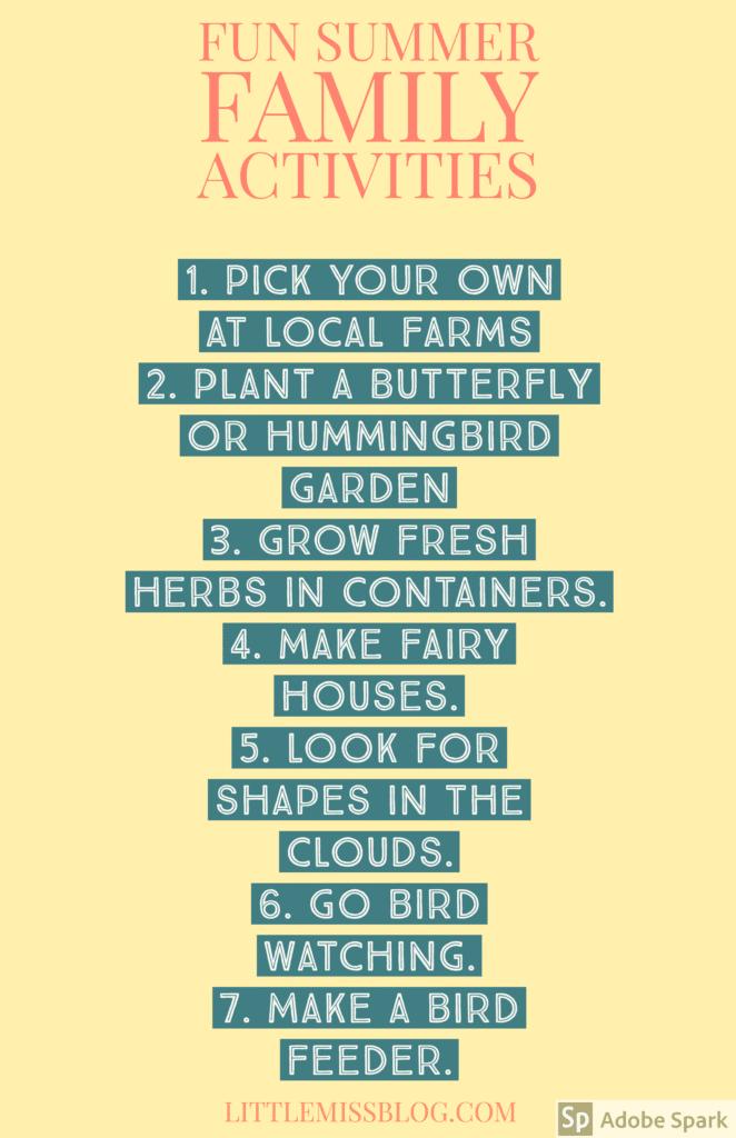 Fun Summer Family Activities Idea List