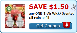 Save $1.50 any ONE (1) Air Wick® Scented Oil Twin Refill