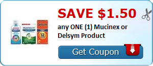 Save $1.50 any ONE (1) Mucinex or Delsym Product