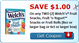 Save $1.00 On any TWO (2) Welch's® Fruit Snacks, Fruit 'n Yogurt™ Snacks or Fruit Rolls (8oz or larger bag or 6ct or larger box)