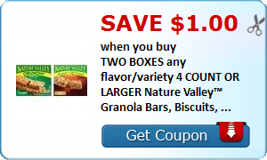 Save $1.00 when you buy TWO BOXES any flavor/variety 4 COUNT OR LARGER Nature Valley™ Granola Bars, Biscuits, ...