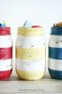 Striped Painted Mason Jar Teacher Gift Ideas