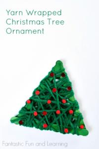 Yarn Christmas Tree Ornament Gift Ideas for kids