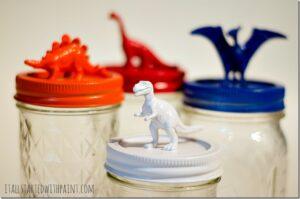 Dinosaur Topped Mason Jar Decor