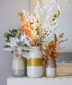 Winter Painted Mason Jars with flowers
