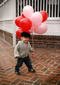 Valentines Picture Ideas - Dressy Outfit with Balloons