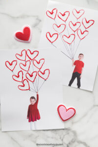 Valentines Activities- Kids Valentine balloon craft, picture and red heart balloons